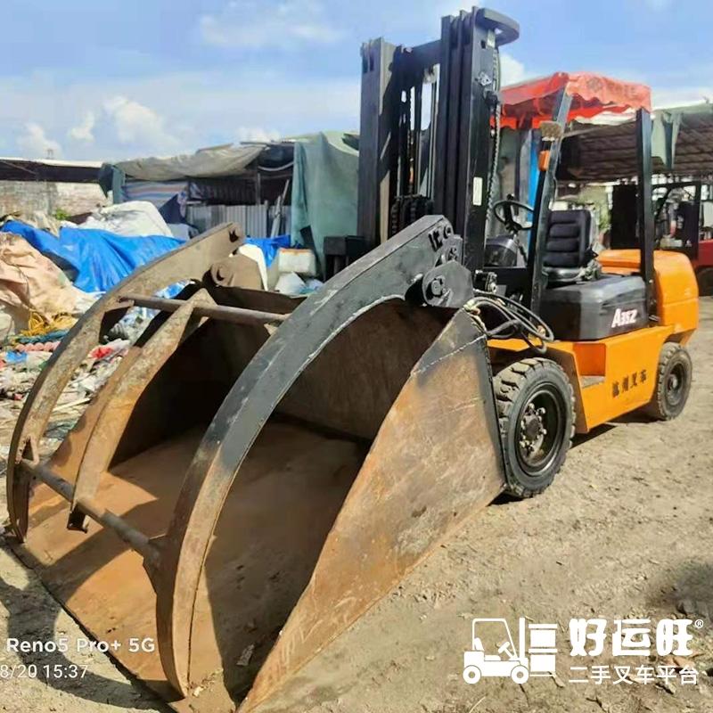 东莞市二手(铲斗)杭叉3.5吨平衡重式柴油叉车出租